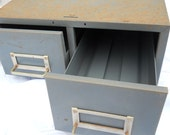 Industrial office gray metal file box two drawer Steampunk decor 5 x 3 file card