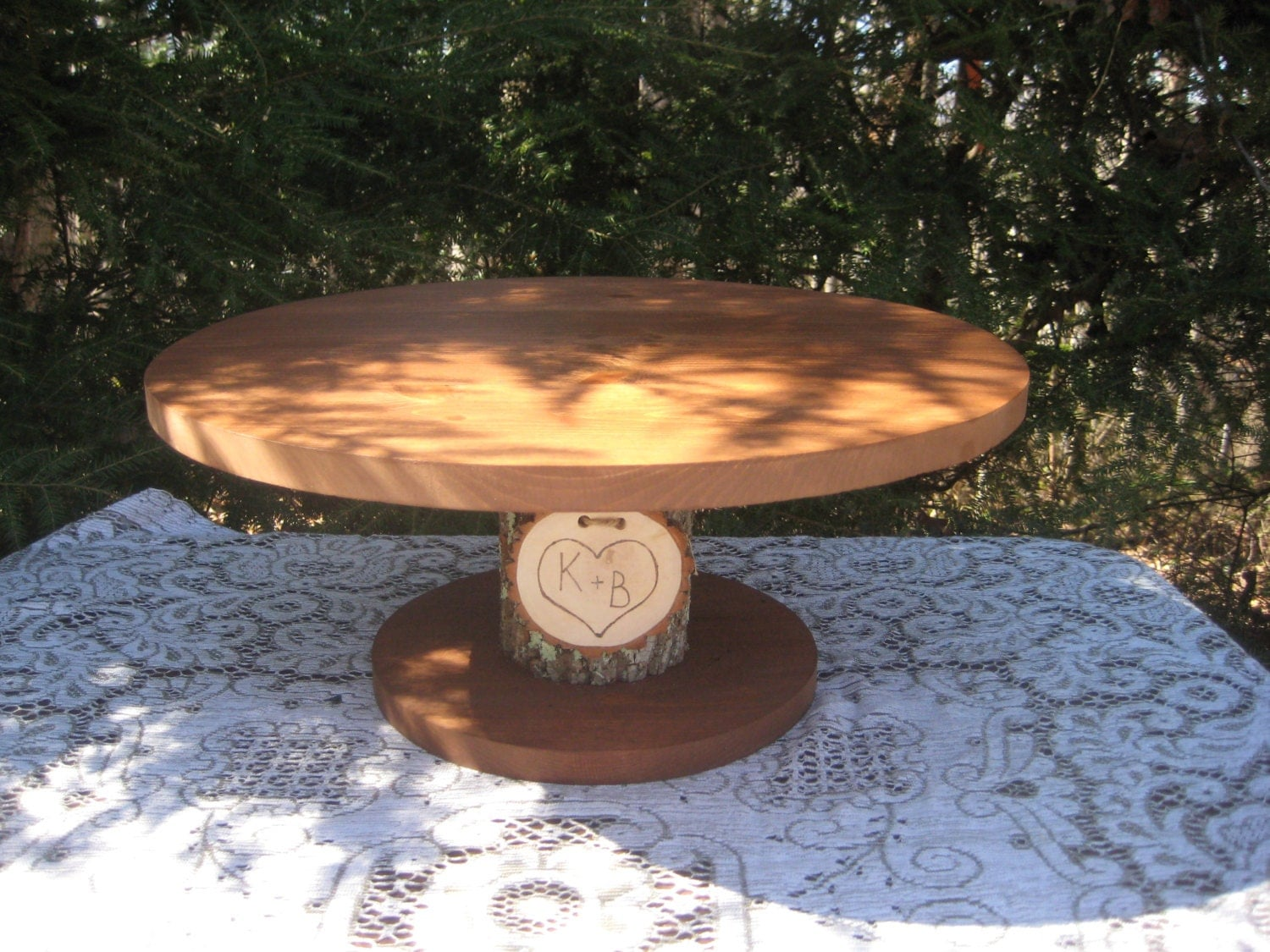 Rustic Wedding Wood Cake Stand: Rustic Cake Stand Rustic Wedding Log Cake Stand Bark Cake
