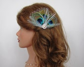 Bridal Peacock Feather Fascinator, Peacock Hair Clip or Brooch, Feather Fan, Bridesmaid Fascinator, Wedding Fascinator