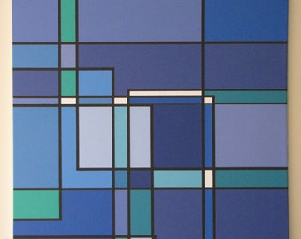 """Stunning Blue De Stijl Giclee Art Print on Stretched Canvas (36"""" x 32"""") in the style of Mondrian, Signed by Hand"""