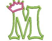 Applique Font Embroidery Design, Crown Applique, Embroidery Applique Letter, Custom Design