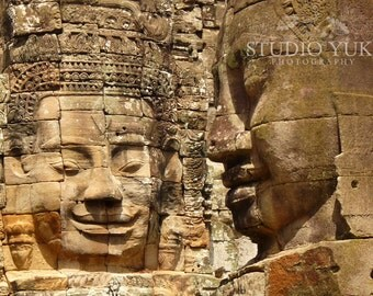 Cambodia Travel Photography, Angkor, Bayon, Mythical, Temple Faces, Beige, Brown, Asian Art - Watching You