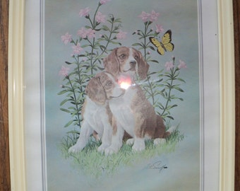 "Vintage Lithographic Print of 2 Cocker Spaniel Dogs  by The Artist Arthur Sarnoff of a painting called ""Elegant Puppies"", Good Condition"