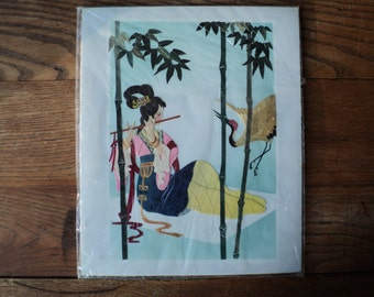Vintage Straw Mosaic Picture made from Hand Cut and Dyed Wheat Stalk on Silk background  of Geisha Playing a Flute with Crane