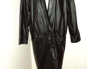 Retro 1980's  Black Leather Trench Coat, Good Condition Full Length Coat with Shawl collar and great Shoulder pads Made in Korea, Retro Chic
