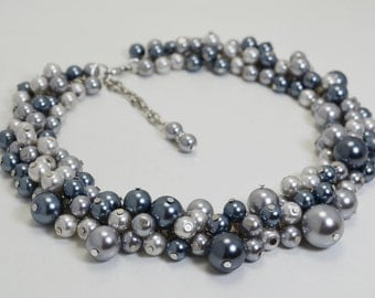 Gray Pearl Necklace, Pearl Cluster Necklace and Earrings, Gray Chunky Necklace, Grey Wedding Jewelry, Bridesmaid Gray Necklace, Gray Jewelry
