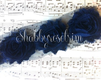 1 Yard Navy Chiffon Flower Shabby Rose Trim