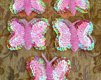 Pink Sequined Beaded Butterfly Appliques