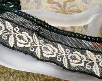 Black and Ecru Floral Trim