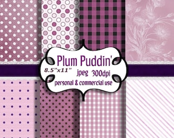 """Digital Papers: Purple Plum Pudding   8.5""""x11"""""""" Jpeg  Papers     no. 028"""