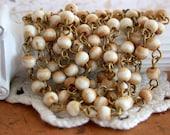 Beaded Chain, Bone Bead Chain, Chain, Bead Chain, Rosary Chain, Jewelry Chain CHN-016