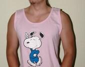 Vintage Peanuts Snoopy Number 1 Dad Pink Tank Size L