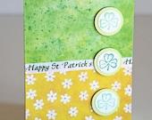 St. Patrick's Day Shamrocks Greeting Card Green and Yellow Notecard with Tiny Shamrocks