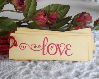 Fancy Love Gift Tags Vintage Style Valentines Day Romance Weddings Anniversary Engagement Party Bridal Shower Party Favors