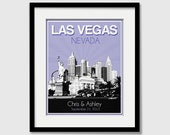 Las Vegas Nevada Wedding Gift - Personalized - Anniversary - Custom Date - Location City and State Modern Art Print - 8x10