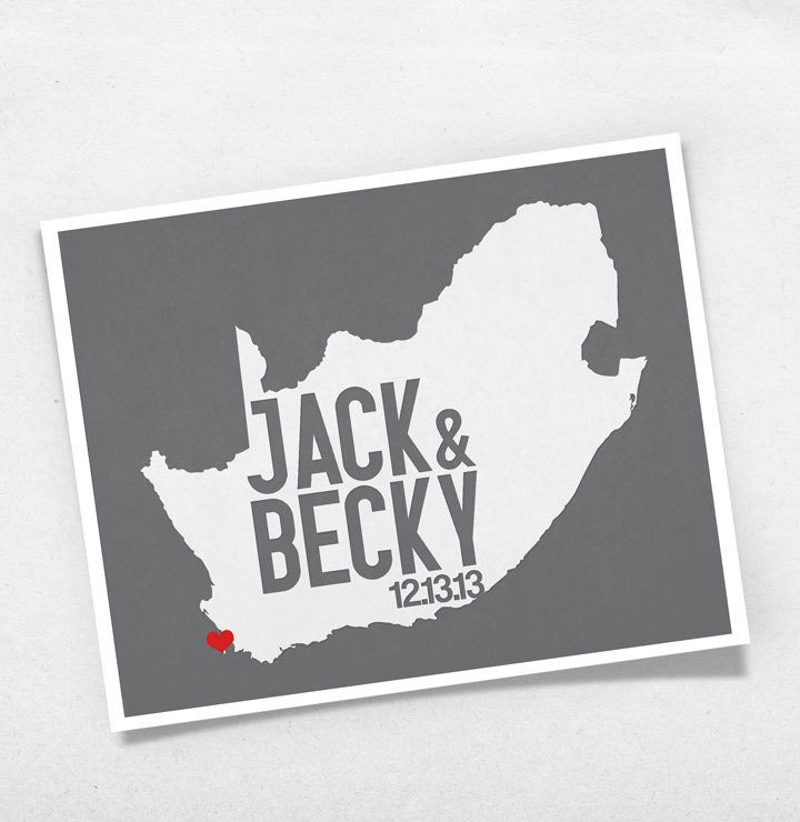 South Africa Wedding Gift Personalized Map Custom