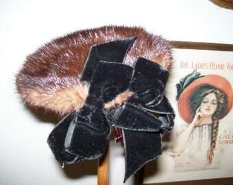 1950s Little Mink Vintage Hat Henri Bendel Blk Velvet Bows