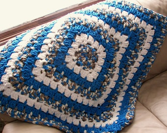 """Crocheted Blanket 36"""" Baby Blanket ~ Toddler Blanket ~ Lap Blanket ~ Blue Brown and White ~ Floor Blanket ~ Baby Gift ~ Travel Blanket ~ USA"""