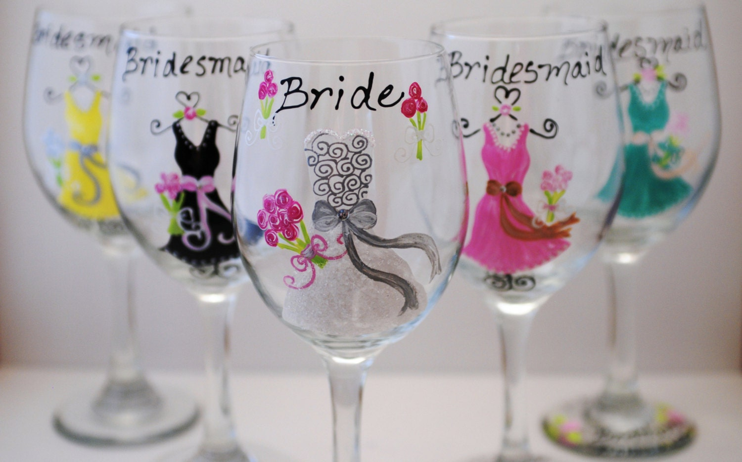 Glass Wedding Gifts: Hand Painted Bridal Party Wedding Wine Glasses By