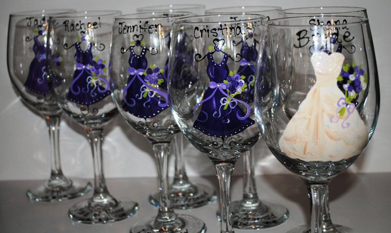 Wedding Gifts Wine Glasses : Hand Painted Purple/Lapis Bridesmaid Wedding by TheToastHostess
