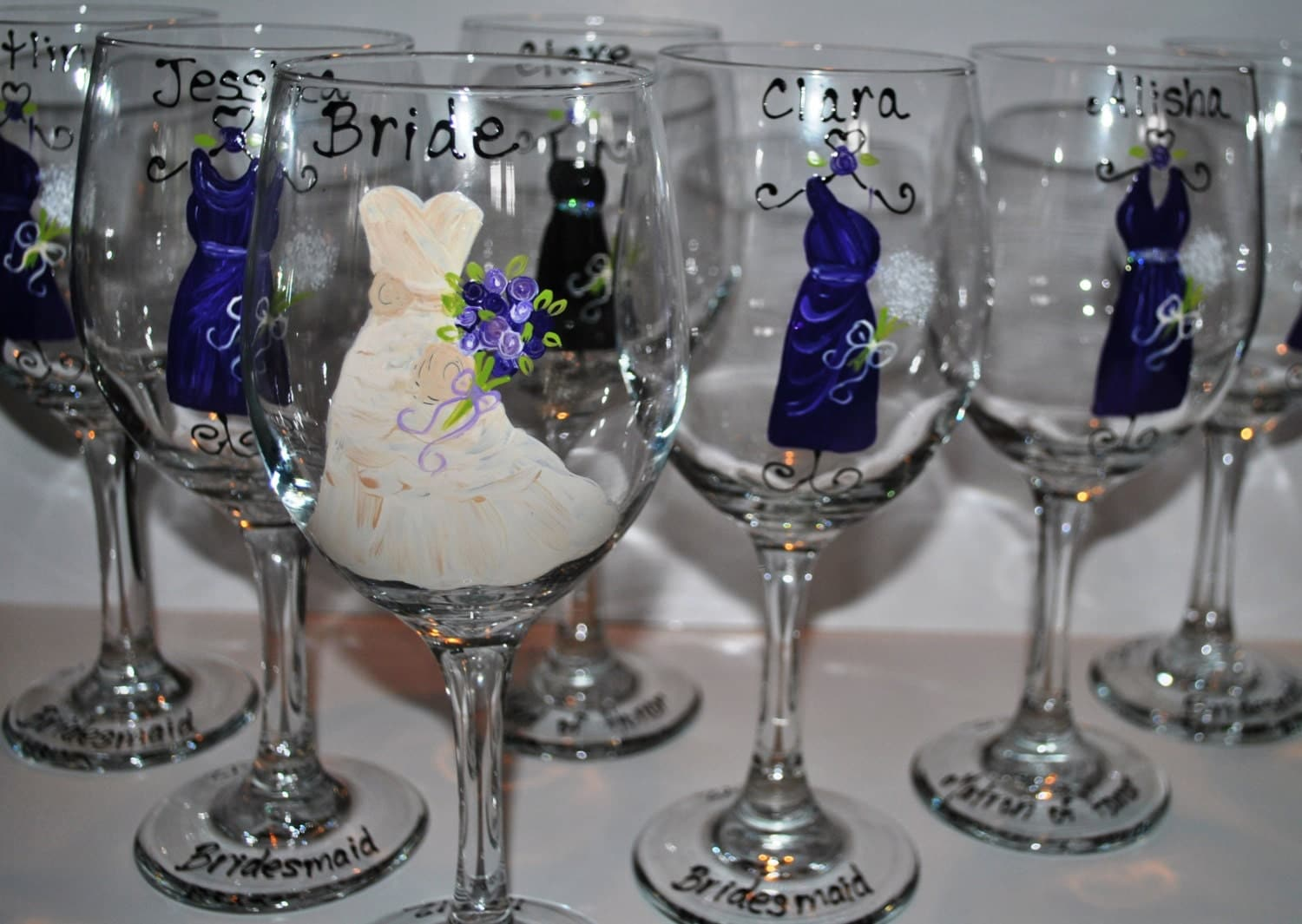 Wedding Gifts Wine: 1 Extra Hand Painted Blue/Navy Bridesmaid Wedding Wine Glasses