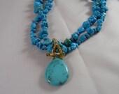 Blue TURQUOISE TEARDROP Pendant Necklace ENHANCER