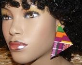 Large Triangle Stud Earrings - Fabric Covered Wood Earrings