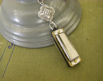 Harmonica Necklace, working mini harmonica,  Medieval Celtic inspired, Stamping Musical Gift , Silver Chain