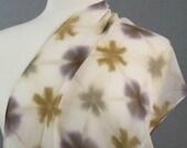 Long Silk Chiffon Scarf Hand Dyed Shibori Lavender Sage Toffee Sekka Flower