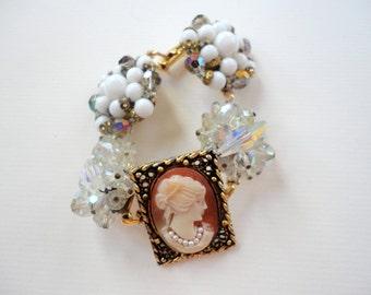 Boho Chic Cameo Bracelet, Vintage Earrings Bracelet, Costume Jewelry Bracelet, Vintage Inspired Unique Gold Jewelry Bracelet,