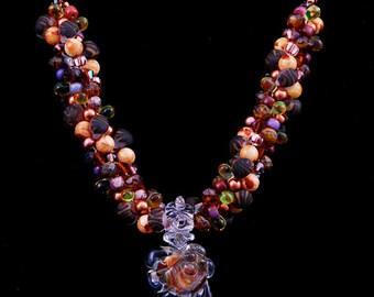 Boro Lampwork Focal Bead Kumihimo Necklace