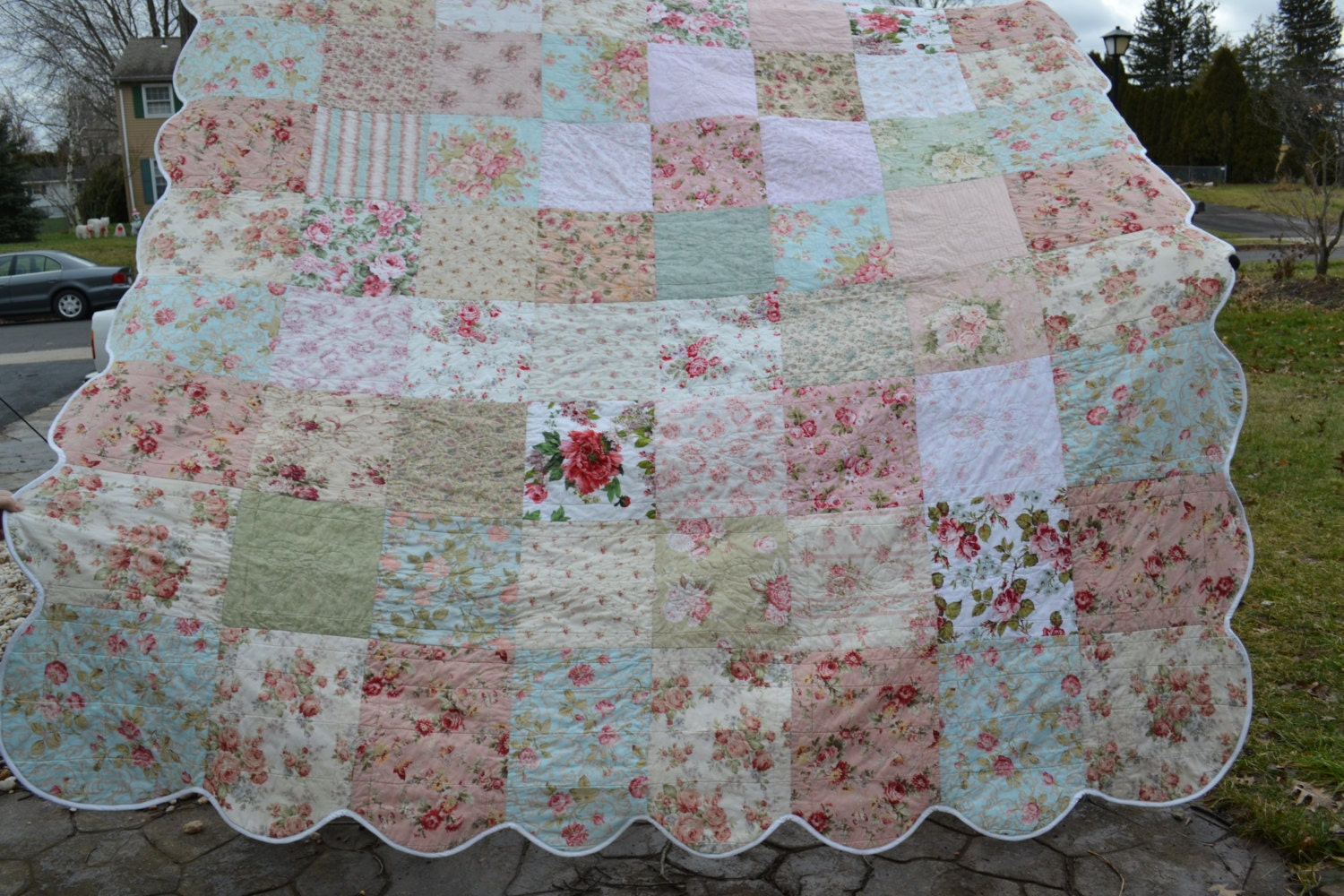 Shabby vintage chic queen size bedding quilt roses patchwork for Chic vintage
