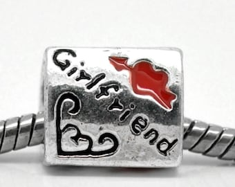 3 Girlfriend Beads - Antique Silver - Enamel Red Cupid's Arrow Heart - 12x10mm - Ships Immediately from California - B596