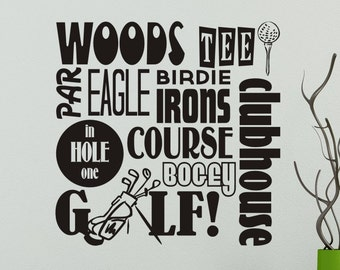 Golf Decal Golf Decor Golfing Wall Decal Sticker Subway Art Man Cave Vinyl  Wall Decor Living Room Office Removable Decorations Sports 22x22