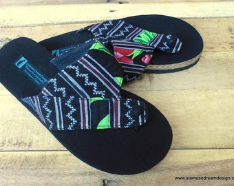 Men's Vegan Sandals in Ethnic Hmong Earthy Brown Embroidery With Colorful Accents - Novak