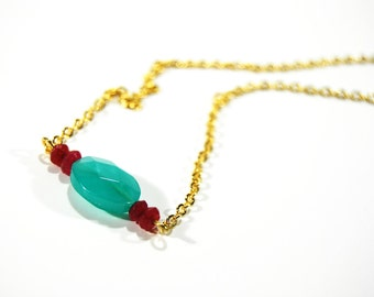 Beaded Jade Necklace Teal Magenta Dyed Bead Jewelry