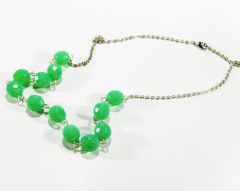 Green Glass Necklace Beaded Bright Jewelry