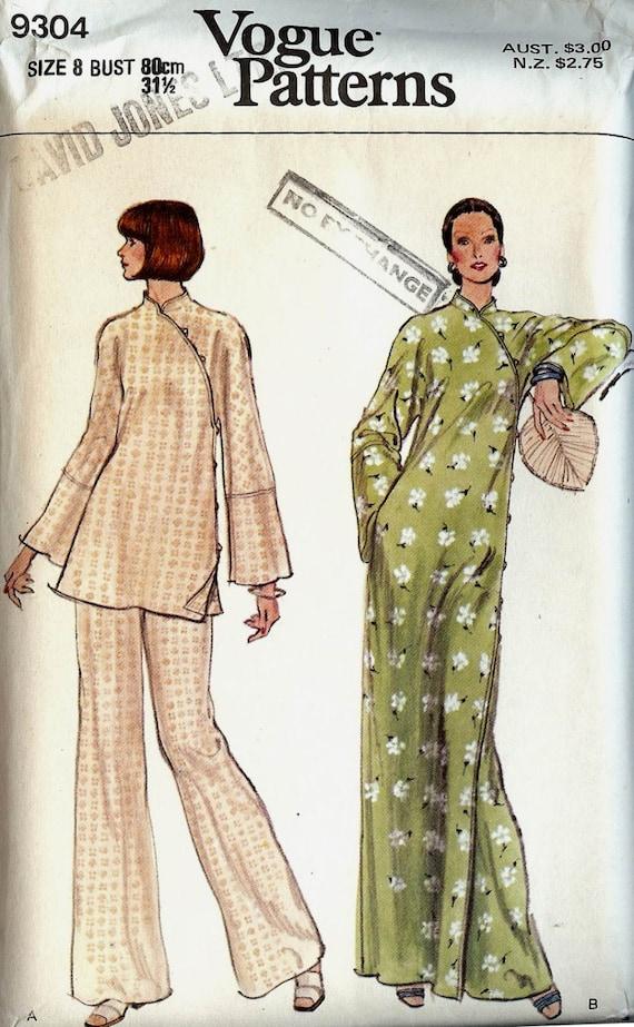 PATTERN Vogue 9304 Dress or tunic with mandarin collar asymmetric closing kimono sleeves and pants Size 8 Uncut