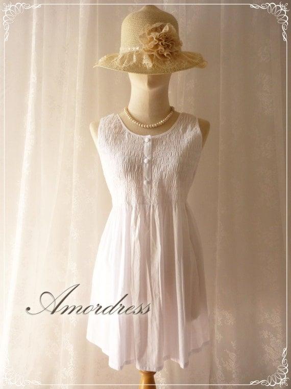 Summer White Blouse Dreamy White Sleeveless Hobo Blouse -M-L-