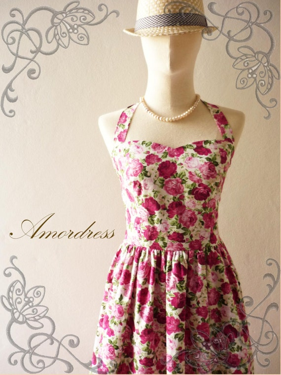 NOW SALE -- Pink Floral Dress Bridesmaid Dress Vintage Summer Dress Sun Dress Rockabilly Wonderland Dress  -xs-xl,custom