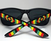 Beaded Sunglasses Rasta Colors