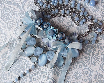 Vintage Light Blue Moonstone Cab Half Buckle, Vintage Metal Enameled Flowers and Angelite Necklace