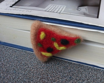 Pizza bookmark needle felted gift under 25