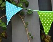 Reusable Fabric Boys Green Blue Polka Dot Birthday Banner, Playroom Garland, Party Bunting