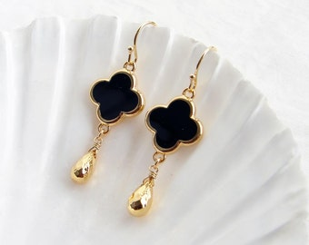 Simple Black Clover and Gold Drop Earrings. Small Clover with Gold Colored Trim. Bridesmaid Gift. Simple Modern Jewelry
