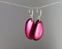 ELEGANT Pink Tagua Earrings Vegan Jewelry