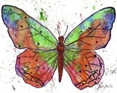 Butterfly,  Fine Art Giclee Print - enhanced with Acrylic  Paint Brush strokes on Canvas Sheet from my Painting - ebsq Artist Ricky Martin