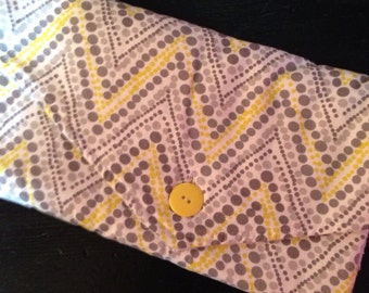 Trendy Changing Pad Clutch Yellow and Grey