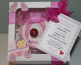 Cupcake Onesie Gift Set Includes Custom-Made Onesie, Washcloth, and Socks Perfectly Packaged for a Sweet Baby Girl