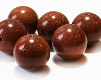 """Goldstone beads, brown, supplies, 10 mm / 0.3937"""", shimmering, 10pcs, round, smooth"""